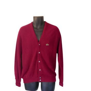 Izod Lacoste Sweater Izod Cardigan Lacoste Men Sweater Maroon Cardigan Burgundy Cardig