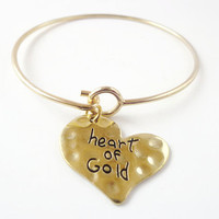 Valentine Gifts ~ Heart of Gold gold tone Bracelet , Gifts for her , Love tokens for wife , present for girlfriend , Heart  charm bangle