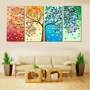 Wall Art Canvas Painting Landscape Modular Pictures Living Room Decor 4 Pieces Colourful Leaf Trees Poster HD Printed PENGDA