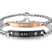 His or Hers Matching Set My BAE My BOO Titanium Stainless Steel Couple Bracelets in a Gift Box