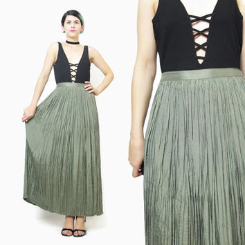90s Moss Green Maxi Skirt Pleated Crinkle Skirt Boho Maxi Skirt High Waist Skirt Minimalist Indian Gauze Skirt Fern Green Long Skirt (L/XL)