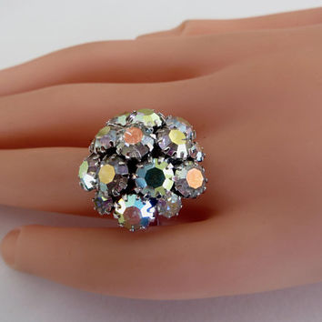 Vintage Sarah Cov Ring Aurora Borealis Cluster Ring Adjustable Sarah Coventry Jewelry