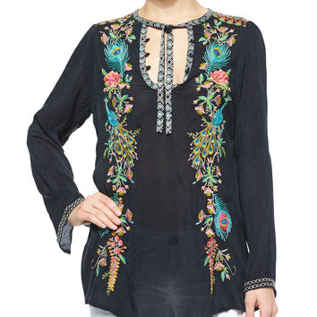 Long-Sleeve Peacock Embroidered Tunic, Petite, Size: