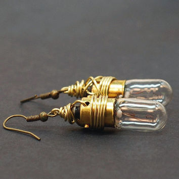 Steampunk Jewelry- Brass Upcycled Light Bulb Earrings