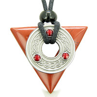 Amulet Triangle Protection Celtic Triquetra Red Jasper Pendant Necklace
