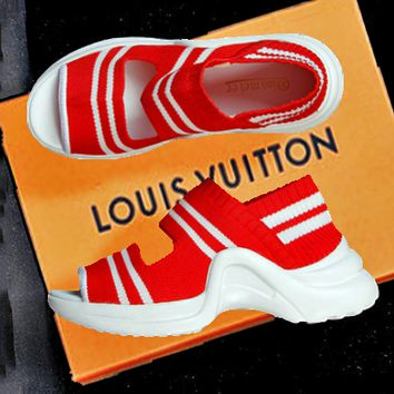 LV Slippers Louis Vuitton Sandals  Breathable platform shoes leisure sports shoes B-ALS-XZ Red