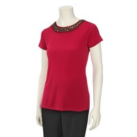 Notations Womens Solid Top with Neck Detail: Shopko