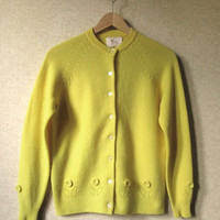 Cardigan Sweater button front wool cardi mori girl clothing Mad Men vintage 60s bright yellow lambswool sweater women medium Tami Hing Kong