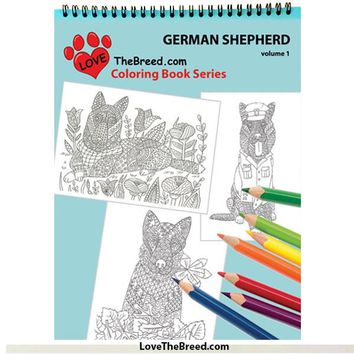 German Shepherd Coloring Book for Adults and Children - Volume 1