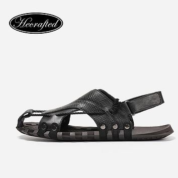 Natural Leather Men Gladiator Sandals He Crafted Fashion Summer Male Shoes