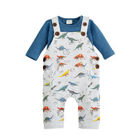Newborn Dinosaur Baby Costume Boy Clothing Set Bib Pants+ Long Sleeve T-shirts 2pcs Set Cartoon Car Clothes Baby Warm Overalls