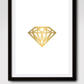 60% OFF SALE Gold Diamond Print, Gold Wall Art, Diamond Print, Gold Print, Gold Diamond Art, Geometric Wall Art