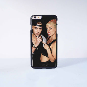 Miley Cyrus and Justin Bieber Plastic Case Cover for Apple iPhone 6 Plus 4 4s 5 5s 5c 6