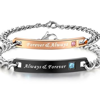 His & Hers Matching Set Titanium Stainless Steel Couple Always & Forever Bracelet in a Gift Box