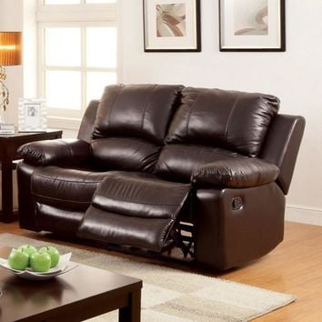 Davenport Transitional Style Motion Dark Brown Love Seat