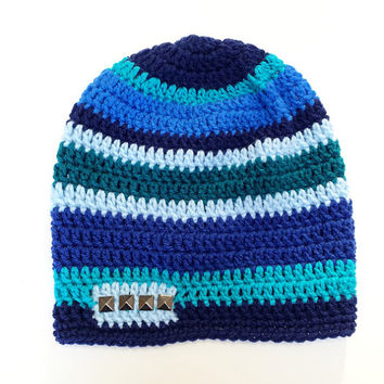 FREE SHIPPING - Crochet Slouchy Beanie Hat - Blue, Navy, Light Blue, Teal, Turquoise, Metal studs, Gun metal