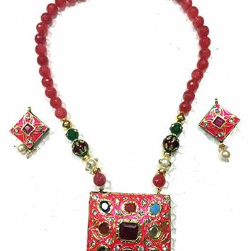 Womens Indian Necklace Pendant Pink Reversible Tourmaline Jewelry Sets