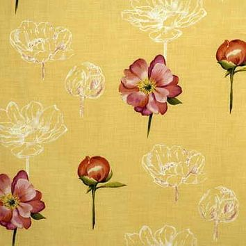 Groundworks Fabric SKETCHBOOK PEON.YELLOW Sketchbook Peony Yellow