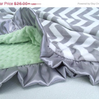 ON SALE White Gray Chevron with Green Minky Baby Blanket - Adult Blanket