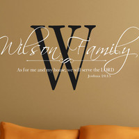 Wall Decal Personalized Family As for me and my house we will serve the LORD- Vinyl Wall Decal- Words & Phrases- Matte Finish Vinyl