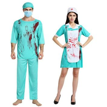 2017 New Adults Surgery Doctor Nurse Bloody Costume Men Women Cosplay Uniform Halloween Carnival Fancy Dress Party Decor