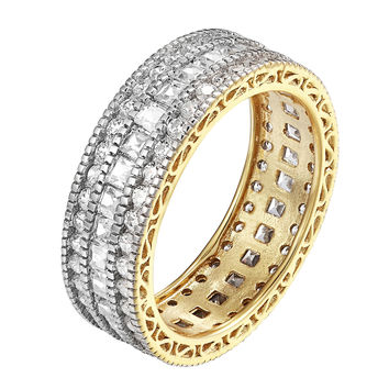 Princess Cut Eternity Ring 14k Gold Over Sterling Silver Cubic Zirconia Wedding