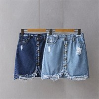 Stylish Denim Mini Skirt Women High waist Ripped Hole Jeans Skirt Sexy Single Breasted Skirt Streetwear