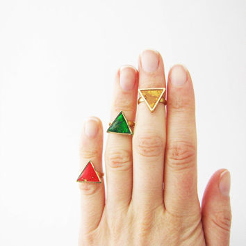Simple modern geometric knuckle triangle ring .Choose Your Color Geo ring. Simple modern geometric polymer clay ring. Valentines day gift