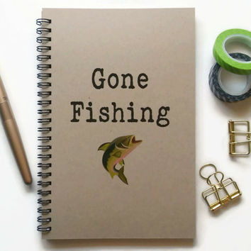 Writing journal, spiral notebook, Bullet journal, brown kraft journal, cute journal, lined blank grid pages - Gone fishing, fishing stories