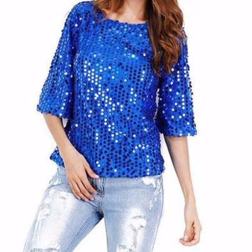 Women's Sparkling Royal Blue Off the Shoulder Glamourous Sequin Short Sleeve Fun Blouse Top