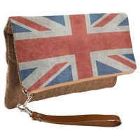 UK Union Jack Flag in retro style vintage textures Clutch