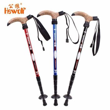 Hewolf 7075 Aluminum Ultralight 4 Sections Telescopic Walking Stick Adjustable Canes Hiking Alpenstock Trekking Pole 50-110cm