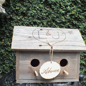 Rustic Wedding Weathered Wood Advice Card Box Birdhouse Personalized Roof And Advice Sign - Gift Idea For A Rustic, Country, Barn, Wedding