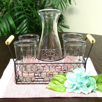 General Store Cottage Chic 5-Piece Carafe Set with Wire Caddy
