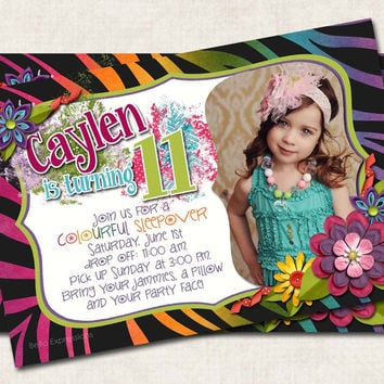 Crazy Zebra Birthday Party Invitation, pink , animal print, rainbow, digital file, you-print