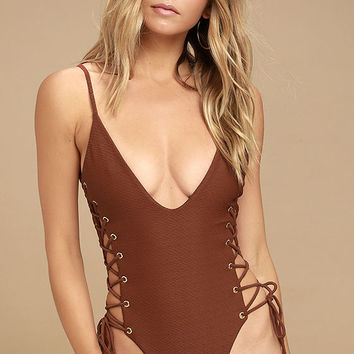 Blue Life Roped Up Rust Red Lace-Up One Piece Swimsuit