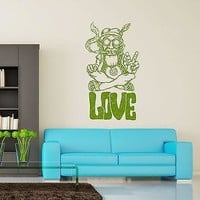 Wall Vinyl Hippie Love Marihuana Weed Smoking USA Flag Unique Gift (z3398)