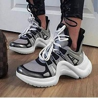 LV Louis Vuitton Popular Personality Archlight Sneaker Shoe White/Black/Grey I-CSXY