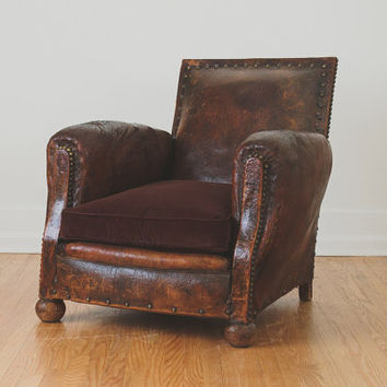 Antique French Distressed Leather Club Chair
