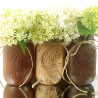 Three, Brown Hand Painted Mason Jars | Rustic - Style, Home Decor -- Painted Mason Jars
