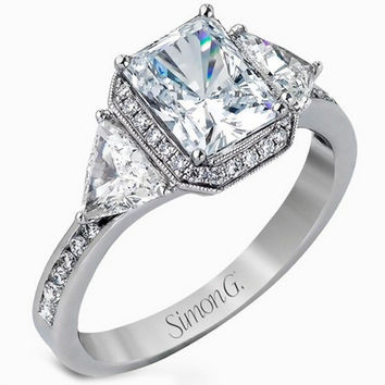 Simon G. 18K White Gold Halo Emerald Cut Three Stone Diamond Trillion Engagement Ring