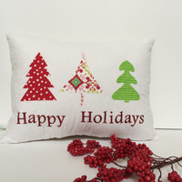 Quilted Christmas Pillow, Quilted Holiday pillow,  Happy Holidays Pillow