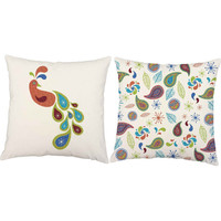 Paisley Peacock Throw Pillows - Set of 2 Retro Pillow Covers - Kid's Room Decor, Peacock Pillow, Peacock Print, Girls Decorative Pillows