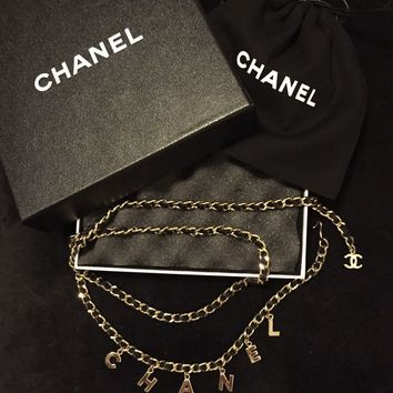 CHANEL CC LETTER BELT/NECKLACE in Black Leather And Gold