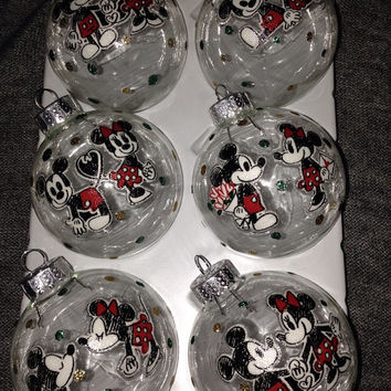 Mickey Mouse and Minnie Mouse Glass Ornaments
