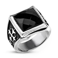 Royal Cross Signet - FINAL SALE Elegant Design Dark Reflective Square Cut Cubic Zirconia Stainless Steel Comfort Fit Ring
