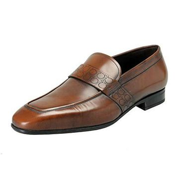 Salvatore Ferragamo Men's Goliath Brown Leather Slip On Loafers Shoes US 10EE IT 43EE