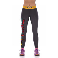 Black Adventure Time Jack Printed Gym Leggings
