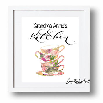 Personalized Grandma gift Custom grandma print Foral Kitchen wall art printable Rustict Kitchen art Watercolor Tea Cup stack Digital print