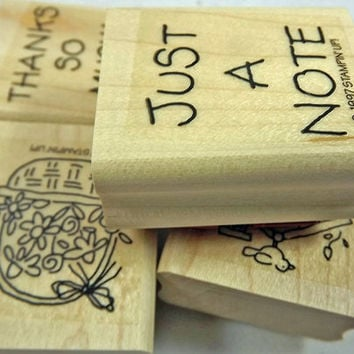 "STAMPIN' UP Rubber Stamp Set -  ""Just a Note""  - 1997 Retired Set for Scrapbooking. Cardmaking, Collage, Crafts HTF"